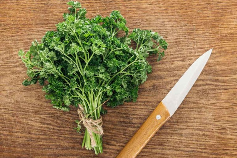A bunch of cut parsley on a wooden board