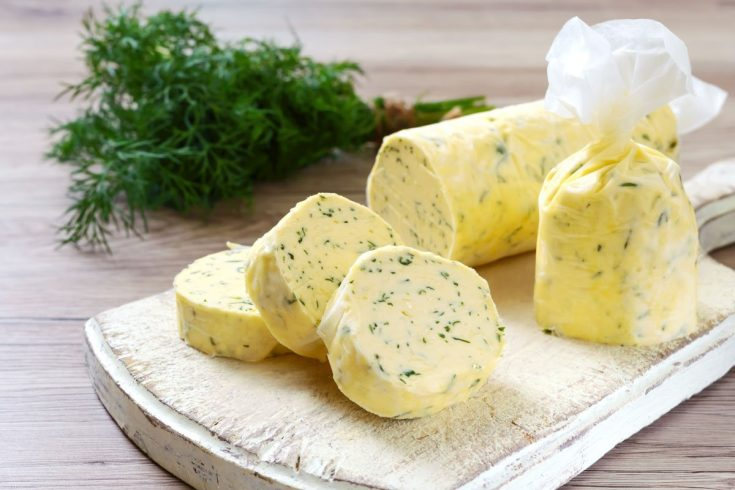 Lemon dill butter in a roll of parchment.
